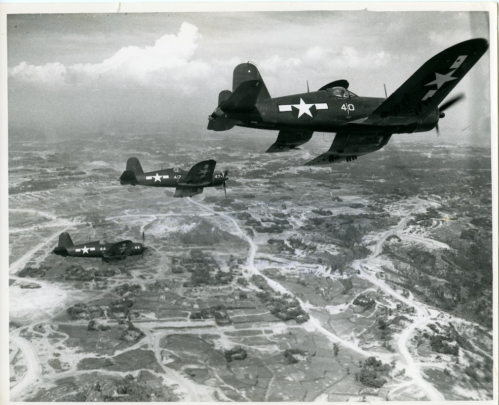 Vought F4U-1s of Marine Fighter Attack Squadron 323 fly a mission in the Pacific in 1945. Prior to World War II, amphibious operations were reliant upon battleships for naval gunfire support. Though the battleship continued to play a role, the versatility of aircraft would contribute to the battleship being phased out of service by the early 21st century.