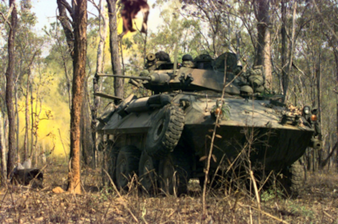 U.S. Marines from 3rd Light Armored Reconnaissance Company train the turret of their Light Armored Vehicle toward targets at the Shoalwater Bay Area Training Area in Queensland, Australia, on Oct. 11, 1999. The Marines are taking part in Exercise Crocodile '99, a combined U.S. and Australian military training exercise being conducted at the Shoalwater Bay Training Area.