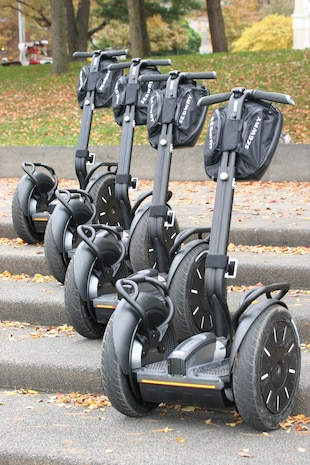 ARLINGTON, Va. - Twenty Segways were presented to service members at the Marine Corps War Memorial Oct. 29. The personal transporters were donated to help improve their quality of life by allowing them more mobility. The program, ran exclusively by volunteers, has a mission to donate more than 400 Segways by the end of this year.