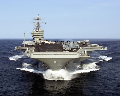 USS Harry S. Truman (CVN 75) swiftly cuts through the water off the North Carolina coast while conducting Tailored Ship's Training Availability Two (TSTA II) and Cycle Operations (CYCLIC OPS).