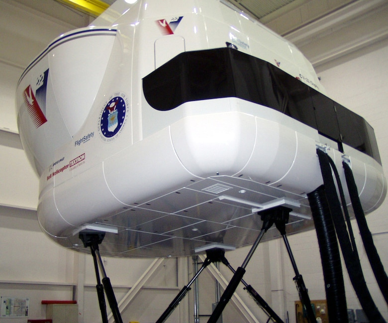 KIRTLAND AIR FORCE BASE, N.M. -- This full-motion CV-22 simulator is one of four that 58th Special Operations Wing instructors here will use to train aircrews beginning in 2005.  The wing is scheduled to receive the new aircraft in 2006.  (U.S. Air Force photo by Master Sgt. Ronald Williams)