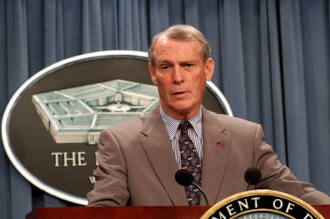 Special Assistant to the Judge Advocate General of the Army W. Hays Parks discusses issues related to the Geneva Convention with reporters at the Pentagon on April 7, 2003. Hays and Ambassador Pierre-Richard Prosper, U.S. ambassador for war crimes issues, briefed reporters on the Convention, the laws of war, the handling of prisoners of war, and war crimes.