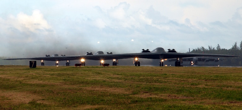 OPERATION IRAQI FREEDOM -- B-2 Spirit bombers taxi down the runway in preparation for the largest insertion of bombers since the Viet Nam conflict.  This flight will mark the official beginning of Operation Iraqi Freedom.  (U.S. Air Force photo by Tech. Sgt. Janice Cannon)