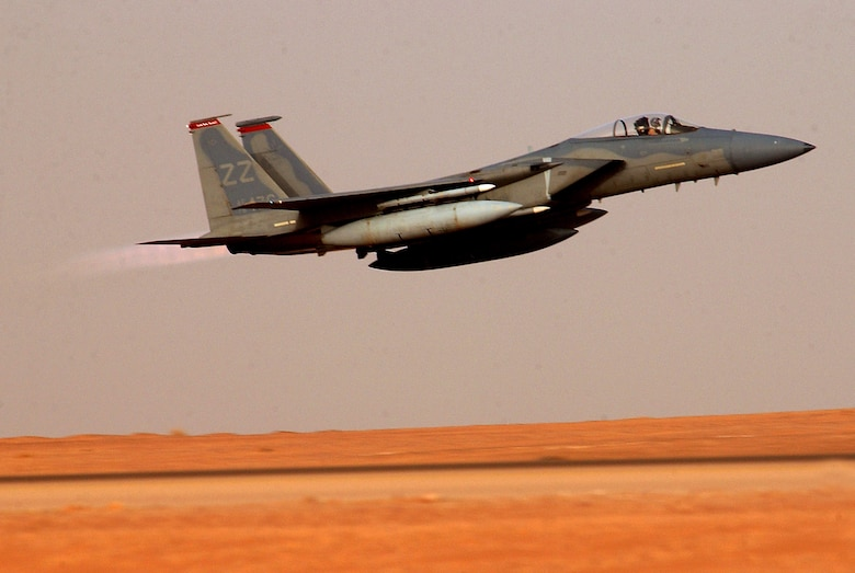 OPERATION IRAQI FREEDOM --  An F-15C Eagle from the 363rd Expeditionary Fighter Squadron takes off for an Operation Iraqi Freedom sortie March 23. Aircraft from the 363rd EFS work around the clock flying missions. (U.S. Air Force photo by Staff Sgt. Matthew Hannen)