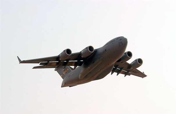 OPERATION IRAQI FREEDOM -- A C-17 Globemaster III deployed to the 363rd Air Expeditionary Wing takes off for a mission at a forward-deployed location in Southwest Asia on March 27. Aircraft move around the clock to support Operation Iraqi Freedom. (U.S. Air Force photo by Staff Sgt. Matthew Hannen)