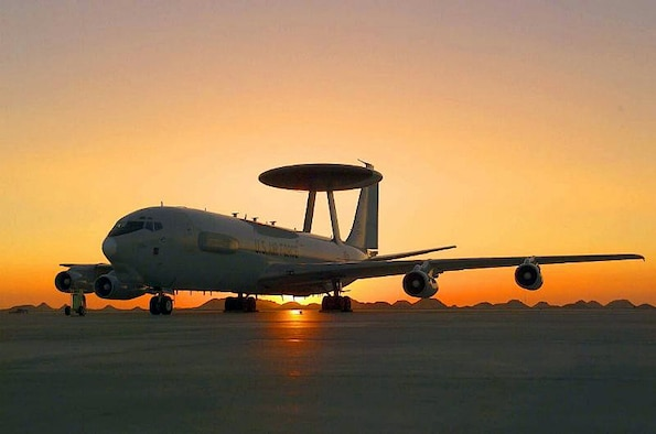 OPERATION IRAQI FREEDOM -- About 45 people deployed from Tinker Air Force Base, Okla., are working together at a forward-deployed location to ensure the E-3 Sentry, better known as the Airborne Warning and Control System aircraft or AWACS, is ready to launch within an hour if needed.  (Courtesy photo)