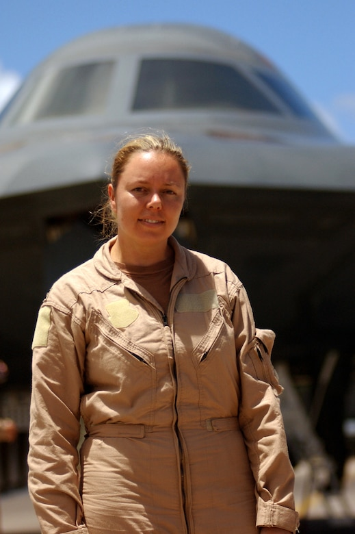 OPERATION IRAQI FREEDOM -- Capt. Jennifer Wilson, a B-2 Spirit pilot, is the first female B-2 pilot to fly a combat mission.  (U.S. Air Force photo by Tech. Sgt. Richard Freeland)