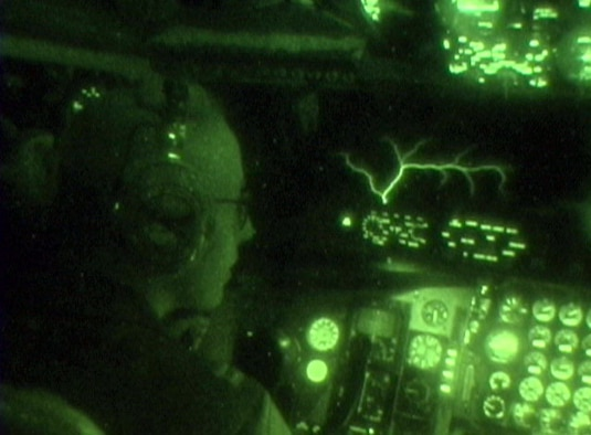 OPERATION IRAQI FREEDOM -- Capt. Rachel Tukey, 28th Expeditionary Air Refueling Squadron, watches a naturally occuring phenomenon known as St. Elmo's Fire on the windshield of her KC-135T Stratotanker after refueling a B-52 Stratofortress. (U.S. Air Force photo by Master Sgt. Timothy Lancaster