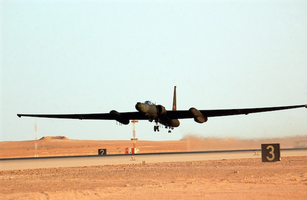 OPERATION IRAQI FREEDOM -- Lt. Col. Walter Flint, a deployed U-2 Dragon Lady commander from the 99th Reconnaissance Squadron, Beale Air Force Base, Calif., to the 363rd Expeditionary Reconnaissance Squadron, takes off for a mission on April 11, 2003.  The U-2 is a high altitude-multi intelligence reconnaissance aircraft.  It can fly above 70,000 ft and provides near-real-time imagery and signals intelligence to war fighters and national authorities in support of Operation Iraqi Freedom at a forward deployed location in Southwest Asia. (U.S. Air Force photo by Staff Sgt. Matthew Hannen)