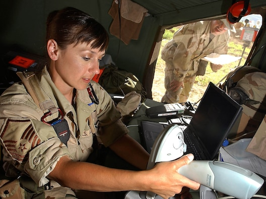 OPERATION IRAQI FREEDOM -- Tech Sgt. Heinz Kiefer, a public health troop, reads a wet bulb thermometer test results to Master Sgt. Mindy Patrick, a bioenvironmental engineering troop, at Bashur Airfield in northern Iraq.  The test helps determine heat stress levels.  Both airmen are assigned to the 86th Expeditionary Contingency Response Group's environmental medicine flight.  (U.S. Air Force photo by Master Sgt. Keith Reed)
