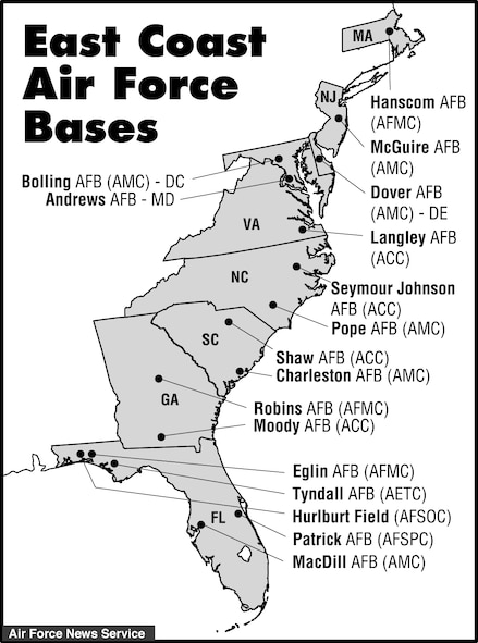 Art - Us map of air force bases