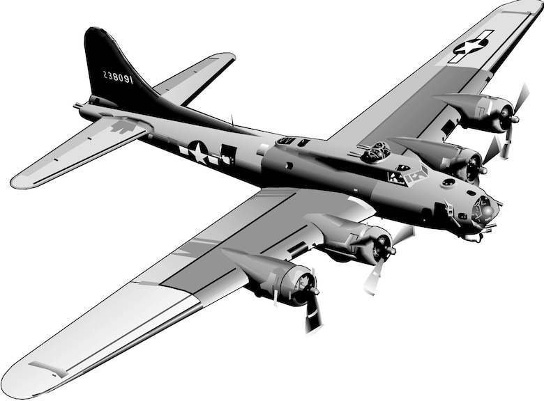 B-17 Flying Fortress (b/w), Graphic by Bob Goode, AFNEWS/NSPD