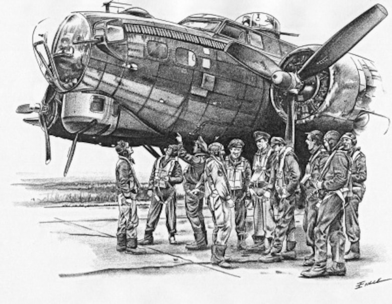 B-17 Flying Fortress and crew (b/w), Illustration by Bob Engle