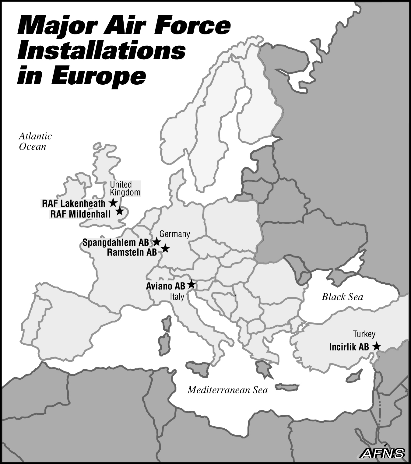 Air Force Bases In England Map.Major Air Force Installations In Europe