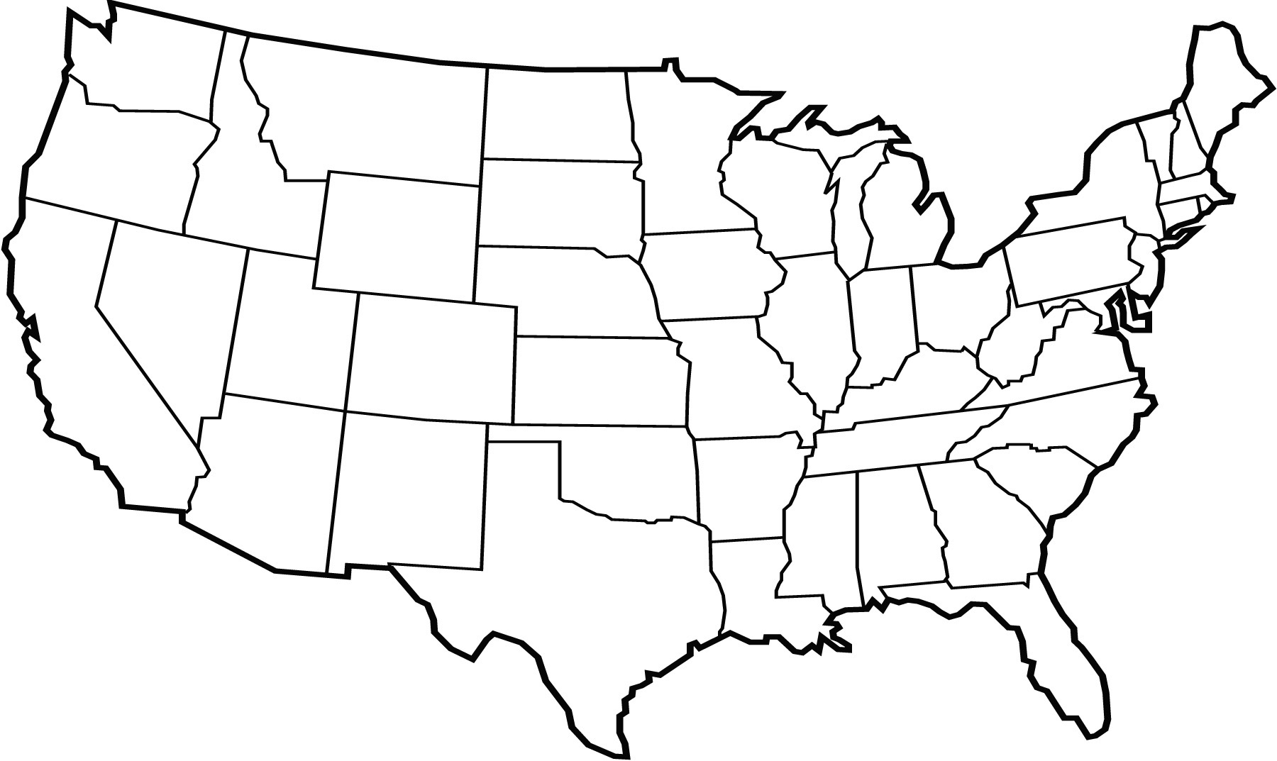 Map Of Continental Us States CONUS