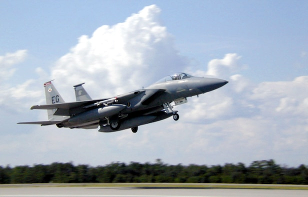 EGLIN AIR FORCE BASE, Fla. -- An F-15 Eagle from the 60th Fighter Squadron takes off from here.  Airmen and aircraft from the 33rd Fighter Wing participated in a joint combat-identification exercise in Gulfport, Miss.  (U.S. Air Force photo by Staff Sgt. Bob Zoellner)