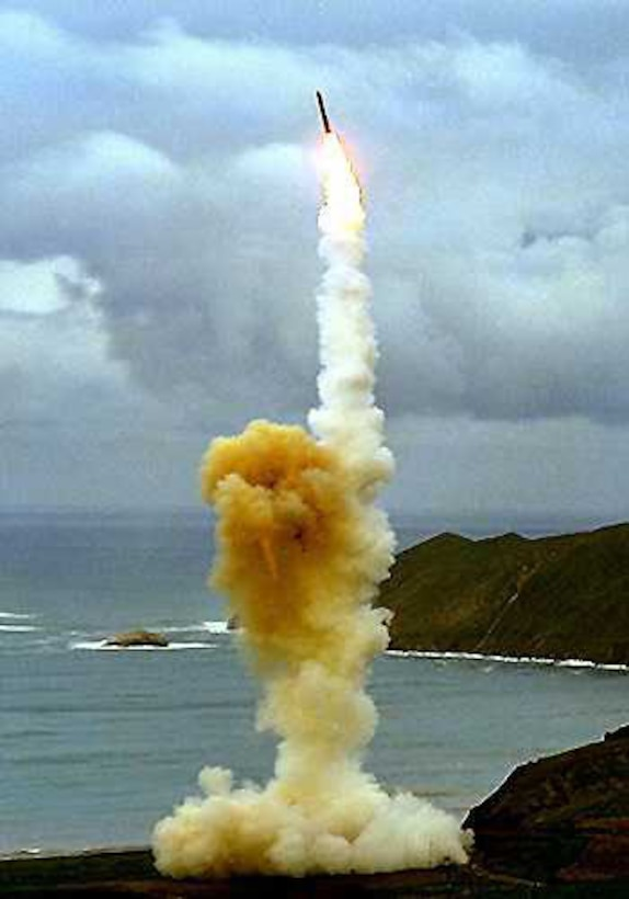 VANDENBERG AIR FORCE BASE, Calif.  -- An LGM-30 Minuteman III missile soars in the air after a test launch. The Minuteman is a strategic weapon system using a ballistic missile of intercontinental range. (U.S. Air Force photo)
