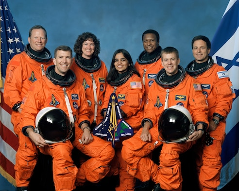 WASHINGTON -- The STS-107 crew includes, from the left, Mission Specialist David Brown, Commander Rick Husband, Mission Specialists Laurel Clark, Kalpana Chawla and Michael Anderson, Pilot William McCool and Payload Specialist Ilan Ramon. The seven member crew, which includes two airmen, died March 18, 2003 when the shuttle crash while returning from a space mission. (NASA photo)