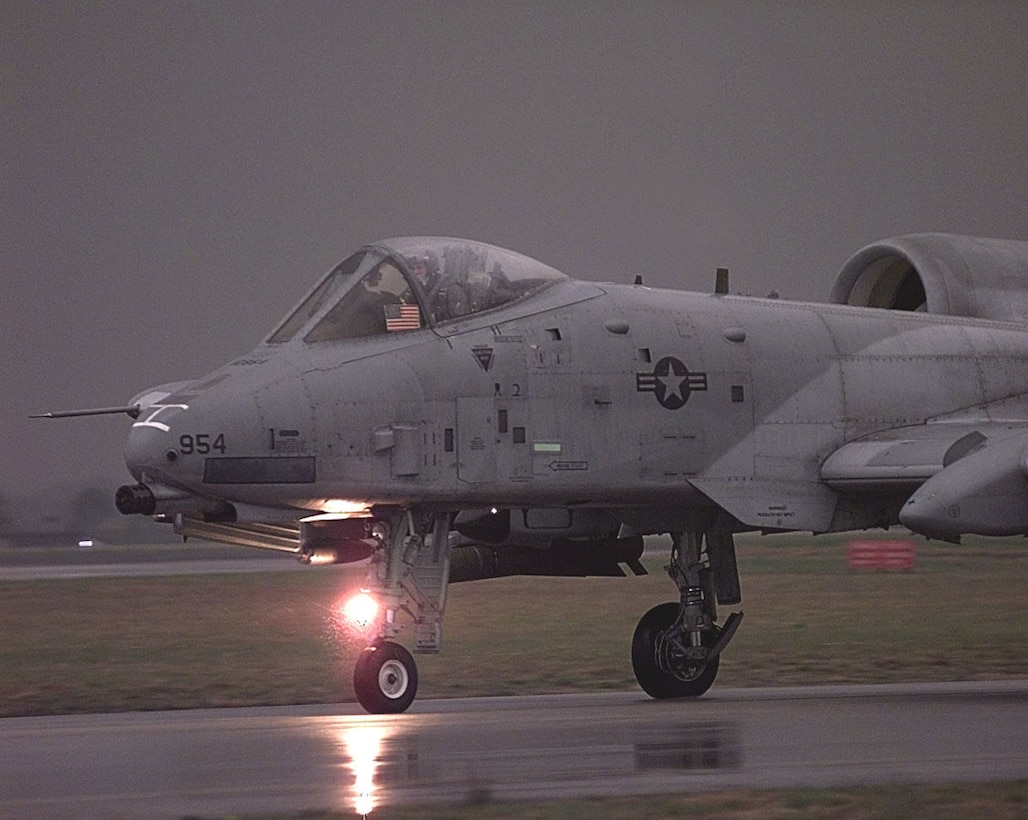 1990's -- An A-10 Thunderbolt II takes off on a mission against targets in Yugoslavia. The A-10 and OA-10 Thunderbolt IIs are the first Air Force aircraft specially designed for close air support of ground forces. They are simple, effective and survivable twin-engine jet aircraft that can be used against all ground targets, including tanks and other armored vehicles. (U.S. Air Force photo)