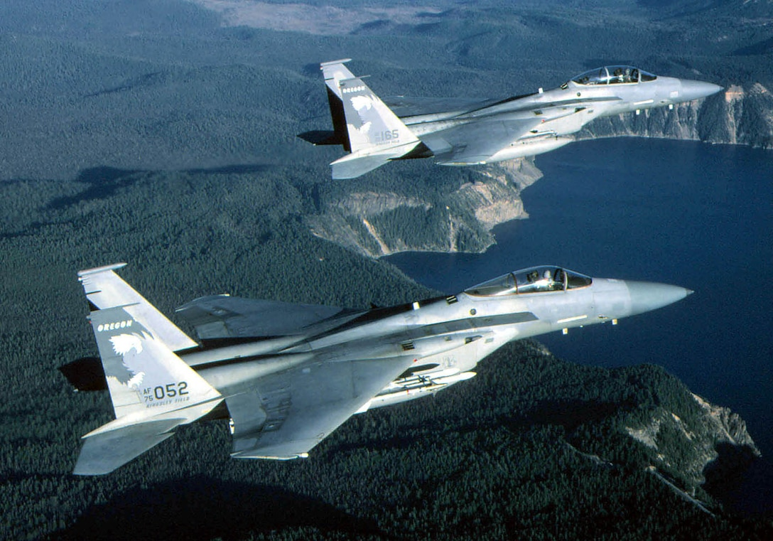 FILE PHOTO -- The F-15 Eagle is an all-weather, extremely maneuverable, tactical fighter designed to permit the Air Force to gain and maintain air superiority in aerial combat. The Eagle's air superiority is achieved through a mixture of unprecedented maneuverability and acceleration, range, weapons and avionics. It can penetrate enemy defense and outperform and outfight any current enemy aircraft. (U.S. Air Force Photo by Master Sgt. Dave Nolan)