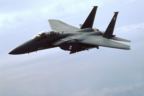 FILE PHOTO -- An F-15E Strike Eagle from the 4th Fighter Wing, Seymour Johmson Air Force Base, N.C.  (U.S. Air Force photo by Master Sgt. Thomas Meneguin)