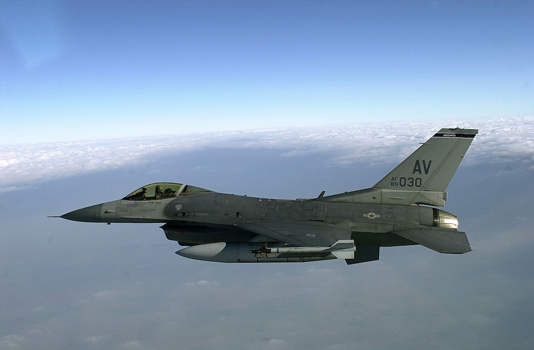 OVER ITALY -- An U.S. F-16 Fighting Falcon flies towards Rimini, Italy to join with the Italian air force in a training mission.   U.S. Air Forces from the 510th Fighter Squadron, Aviano Air Base, Italy and Italian Air Forces from the 83rd Combat Search and Rescue Squadron, Rimini, Italy, participated in a 4-day training mission from Feb. 5 to Feb. 8, 2001.  The mission involved U.S. F-16 aircrews locating and authenticating survivors and coordinate pickup with Italian rescue crews.  F-16s were also tasked with escorting helicopters to protect them from air and ground threats.  This is the first ever tasking of a full-time combat search and rescue mission for F-16s from the 510th Fighter Squadron. (U.S. Air Force photo by Tech. Sgt. Dave Ahlschwede)