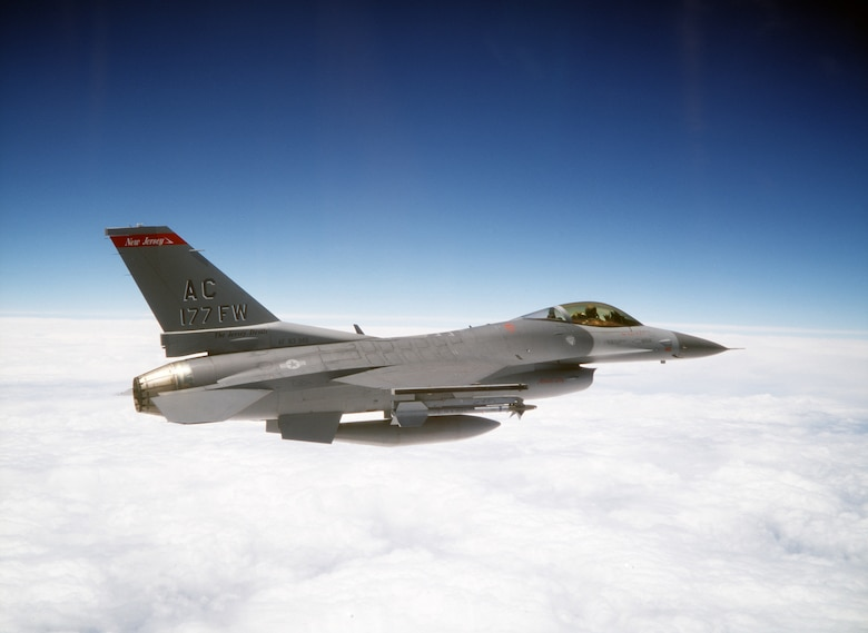 TYNDALL AIR FORCE BASE, Fla. -- Lt. Col. Mike Cosby, 177th Fighter Wing commander, flies an F-16C block 25 aircraft from here to Atlantic City International Airport, N.J.  The wing participated in Combat Archer training at Tyndall. (U.S. Air Force photo by Master Sgt. Don Taggart)