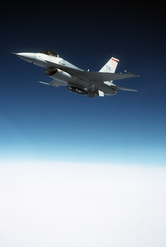 FILE PHOTO -- The F-16 Fighting Falcon is a compact, multirole fighter aircraft. It is highly maneuverable and has proven itself in air-to-air combat and air-to-surface attack. It provides a relatively low-cost, high-performance weapon system for the United States and allied nations. (U.S. Air Force photo  by Senior Airman Greg L. Davis.)