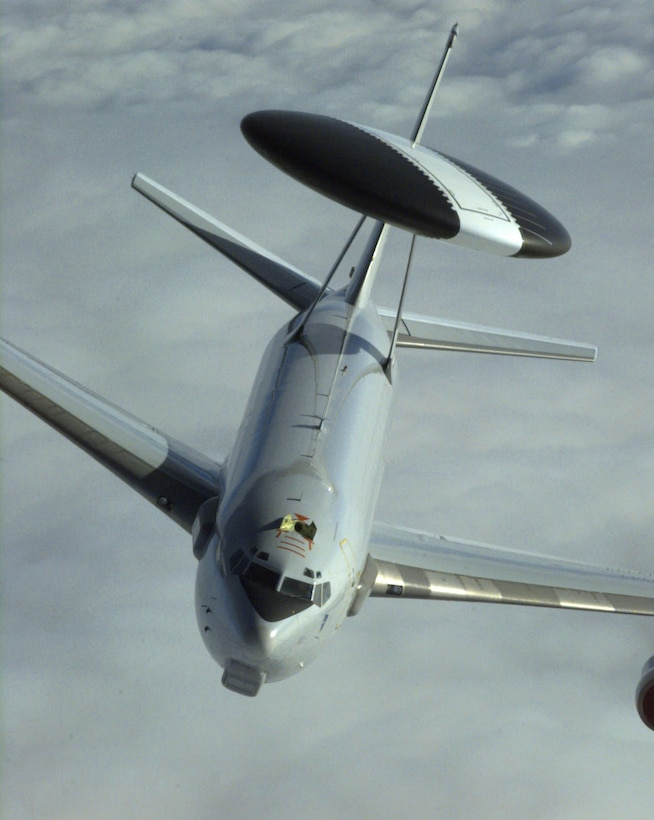 FILE PHOTO -- The E-3 Sentry is a modified Boeing 707/320 commercial airframe with a rotating radar dome. The dome is 30 feet in diameter, 6 feet thick and is held 11 feet above the fuselage by two struts. It contains a radar subsystem that permits surveillance from the Earth's surface up into the stratosphere, over land or water. The radar has a range of more than 200 miles for low-flying targets and farther for aerospace vehicles flying at medium to high altitudes. (U.S. Air Force photo by Master Sgt. Joe Cupido)