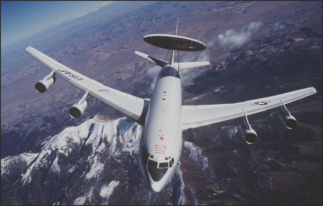 FILE PHOTO -- The E-3 Sentry is a modified Boeing 707/320 commercial airframe with a rotating radar dome. The dome is 30 feet in diameter, 6 feet thick and is held 11 feet above the fuselage by two struts. It contains a radar subsystem that permits surveillance from the Earth's surface up into the stratosphere, over land or water. The radar has a range of more than 200 miles for low-flying targets and farther for aerospace vehicles flying at medium to high altitudes. (Courtesy photo)