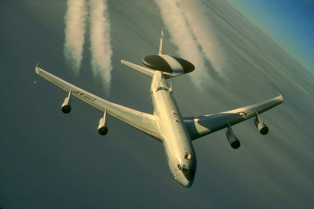 The E-3 Sentry is a modified Boeing 707/320 commercial airframe with a rotating radar dome. The dome is 30 feet in diameter, 6 feet thick and is held 11 feet above the fuselage by two struts. It contains a radar subsystem that permits surveillance from the Earth's surface up into the stratosphere, over land or water. The radar has a range of more than 200 miles for low-flying targets and farther for aerospace vehicles flying at medium to high altitudes.(U.S. Air Force photo by Master Sgt. Dave Nolan)