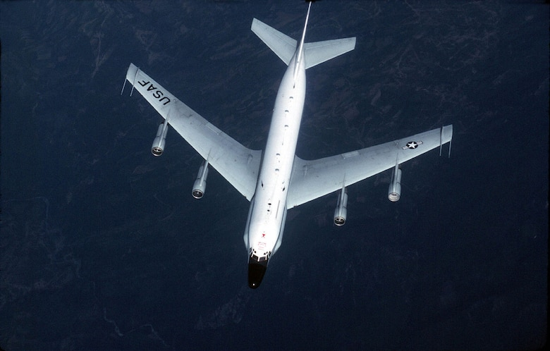 FILE PHOTO -- The basic airframe of the RC-135 resembles that of a slightly larger Boeing 707 from which it is derived. Having a long service career, RC-135s originally flew from remote bases in Alaska and elsewhere to collect data on Soviet ballistic missile testing during the Cold War. With the use of passive sensors, the RC-135 gathers imagery intelligence, telemetry intelligence and signals intelligence. (U.S. Air Force photo by Senior Airman Greg Davis)