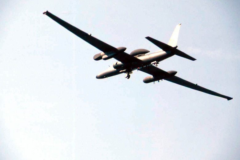FILE PHOTO -- The U-2 is a single-seat, single-engine, high-altitude, reconnaissance aircraft. Long, wide, straight wings give the U-2 glider-like characteristics. It can carry a variety of sensors and cameras, is an extremely reliable reconnaissance aircraft, and enjoys a high mission completion rate. Because of its high altitude mission, the pilot must wear a full pressure suit. The U-2 is capable of collecting multi-sensor photo, electro-optic, infrared and radar imagery, as well as performing other types of reconnaissance functions. However, the aircraft can be a difficult aircraft to fly due to its unusual landing characteristics. The aircraft is being upgraded with a lighter engine that burns less fuel, cuts weight and increases power. The entire fleet should be reengined by 1998. Other upgrades are to the sensors and adding the Global Positioning System that will superimpose geo-coordinates directly on collected images. (U.S. Air Force photo by Master Sgt. Rose Reynolds)