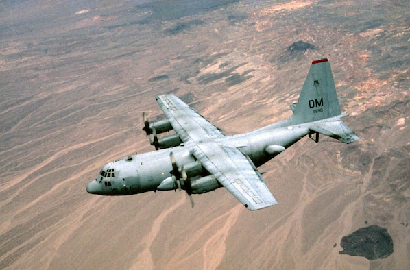 FILE PHOTO -- Compass Call is the designation for a modified version of Lockheed corporation's EC-130H Hercules aircraft configured to perform tactical command, control and communications countermeasures. Specifically, the modified aircraft uses noise jamming to prevent communication or degrade the transfer of information essential to command and control of weapon systems and other resources. It primarily supports tactical air operations but also can provide jamming support to ground force operations. Modifications to the aircraft include an electronic countermeasures system, air refueling capability and associated navigation and communications systems. (U.S. Air Force Photo)