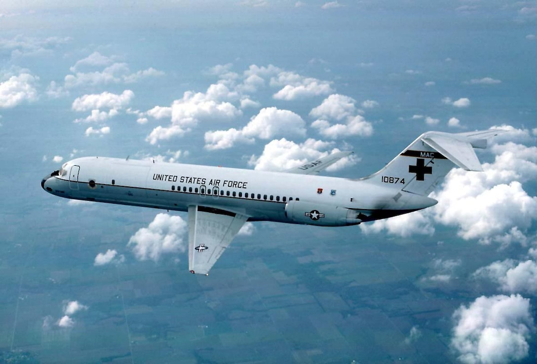 FILE PHOTO -- The C-9 is a twin-engine, T-tailed, medium-range, swept-wing jet aircraft used primarily for Air Mobility Command's aeromedical evacuation mission. The Nightingale is a modified version of the McDonnell Douglas Aircraft Corporation's DC-9. It is the only aircraft in the inventory specifically designed for the movement of litter and ambulatory patients. The C-9A's airlift capability to carry 40 litter patients, 40 ambulatory and four litter patients, or various combinations thereof, provides the flexibility for Air Mobility Command's worldwide aeromedical evacuation role. A hydraulically operated folding ramp allows efficient loading and unloading of litter patients and special medical equipment. (U.S. Air Force Photo)