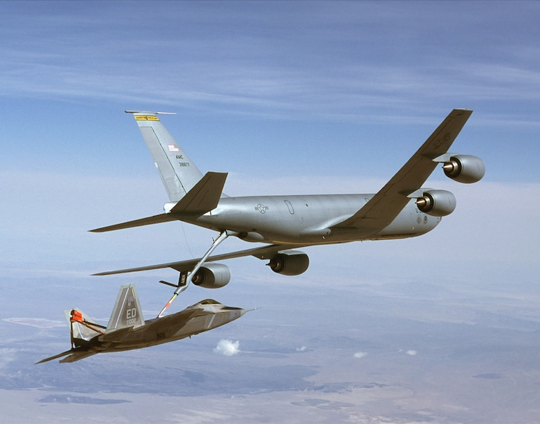 FILE PHOTO -- A KC-135R Stratotanker refuels an F/A-22 Raptor. The KC-135's principal mission is air refueling. This asset greatly enhances the U. S. Air Force's capability to accomplish its mission of Global Engagement.