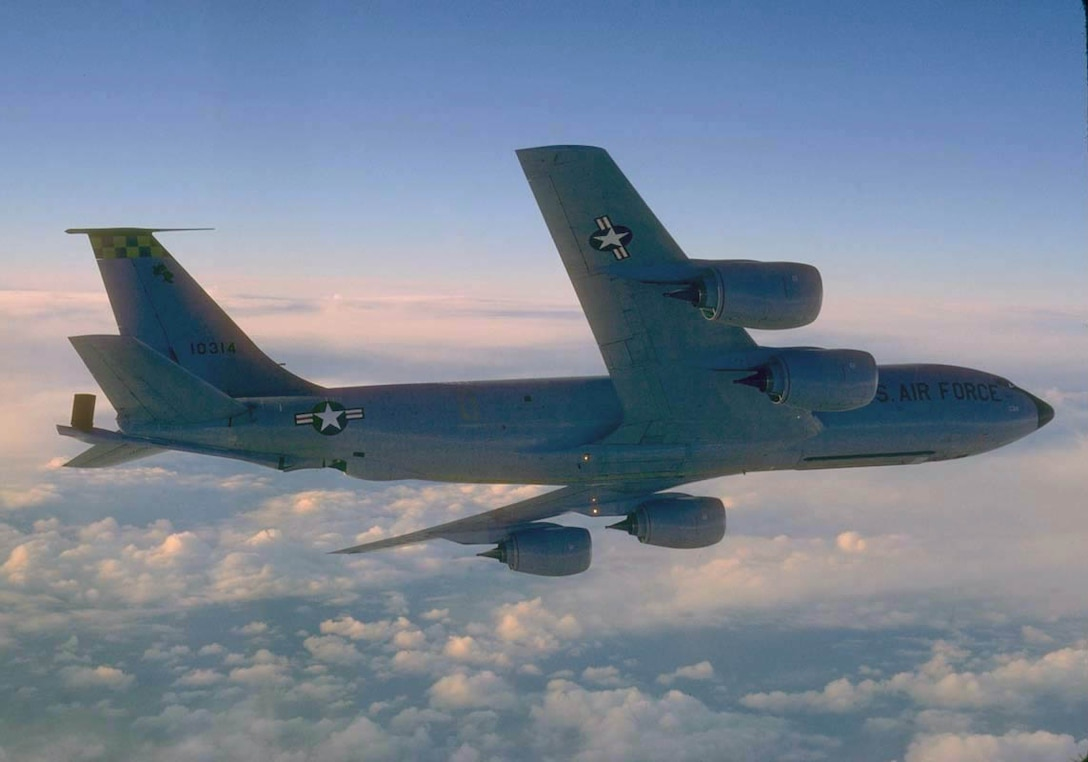 FILE PHOTO -- The KC-135 Stratotanker's primary mission is to refuel long-range bombers. It also provides aerial refueling support to Air Force, Navy, Marine Corps and allied aircraft. Four turbojets, mounted under wings swept 35 degrees, power the KC-135. Nearly all internal fuel can be pumped through the tanker's flying boom, the KC-135's primary fuel transfer method. A special shuttlecock-shaped drogue, attached to and trailed behind the flying boom, is used to refuel aircraft fitted with probes. An operator stationed in the rear of the plane controls the boom. A cargo deck above the refueling system holds passengers or cargo. Depending on fuel storage configuration, the KC-135 can carry up to 83,000 pounds (37,350 kilograms) of cargo. (U.S. Air Force photo by Master Sgt. Dave Nolan)