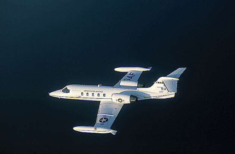 FILE PHOTO -- The C-21A provides cargo and passenger airlift and can transport litters during medical evacuations. The C-21A's turbofan engines are pod-mounted on the sides of the rear fuselage. The swept-back wings have hydraulically actuated, single-slotted flaps. The aircraft has a retractable tricycle landing gear, single steerable nose gear and multiple-disc hydraulic brakes. The C-21A can carry eight passengers and 42 cubic feet (1.26 cubic meters) of cargo. The fuel capacity ofthe C-21A is 931 gallons (3,537.8 liters) carried in wingtip tanks. The safety and operational capabilities of the C-21A areincreased by the autopilot, color weather radar and tactical air navigation (TACAN) system, as well as HF, VHF and UHF radios. (U.S. Air Force photo)