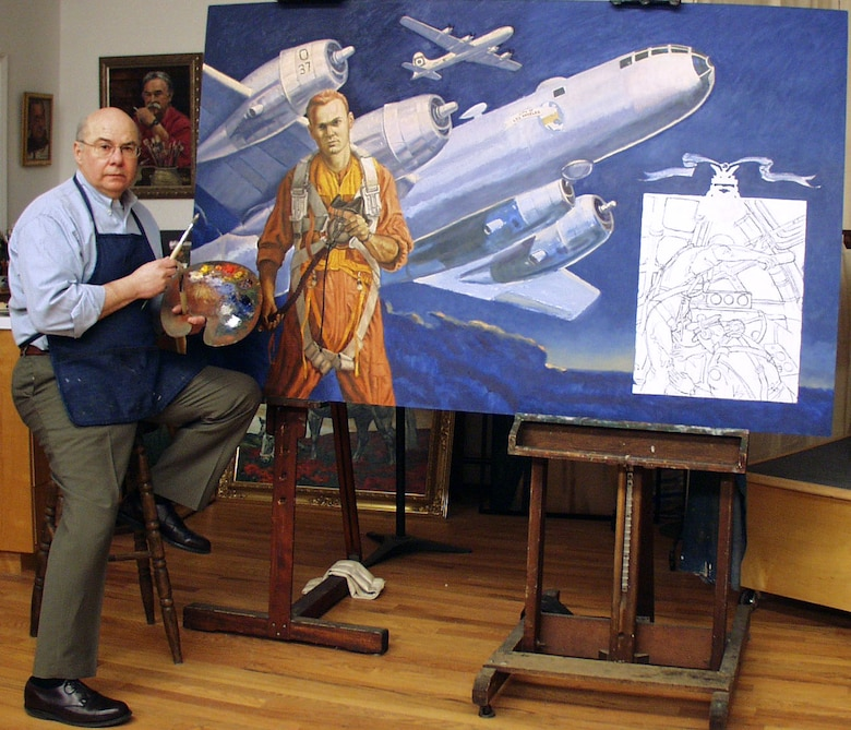 "WASHINGTON -- Artist John Witt works on a painting featuring Staff Sgt. Henry ""Red"" Erwin, a World War II Medal of Honor recipient. Witt has been doing work for the Air Force Art Program since the early 1980s. (Courtesy photo)"
