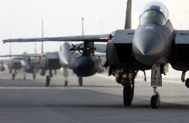 OPERATION IRAQI FREEDOM -- F-15E Strike Eagles from the 494th Fighter Squadron at Royal Air Force Lakenheath, England, arrive at a forward-deployed location in Southwest Asia.  (U.S. Air Force photo by Master Sgt. Terry L. Blevins)
