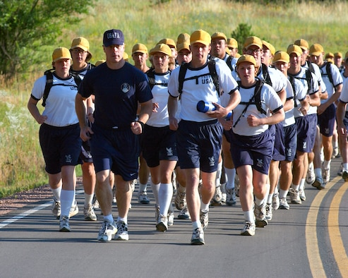U.S. AIR FORCE ACADEMY, Colo. -- Brig. Gen. John Weida, the academy commandant, joined cadets on the first leg of the 35-mile relay Warrior Run on July 30.  The run was added to basic cadet training here this year.  (U.S. Air Force photo by Danny Meyer)