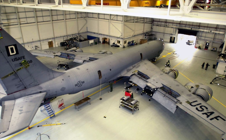 A KC-135 Stratotanker undergoes an isochronal inspection at Royal Air Force Mildenhall, England. The inspection begins with all access panels being removed to check flight controls. Air Force officials announced the selection of the Northrop Grumman company to replace the aging KC-135 and to produce up to 179 of the new air refuelers. (U.S. Air Force photo/Airman 1st Class Franklin J. Perkins)