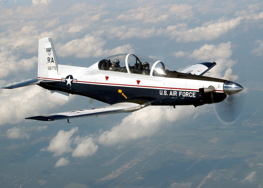 RANDOLPH AIR FORCE BASE, Texas -- The T-6A Texan II is a single-engine, two-seat primary trainer designed to train Joint Primary Pilot Training, or JPPT, students in basic flying skills common to U.S. Air Force and Navy pilots.  The trainer is phasing out the aging T-37 fleet throughout Air Education and Training Command. (U.S. Air Force photo by Master Sgt. David Richards)