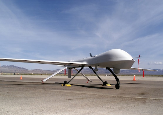 FILE PHOTO -- The RQ-1 Predator is a medium-altitude, long-endurance unmanned aerial vehicle system. The Predator is a system, not just an aircraft. The fully operational system consists of four air vehicles (with sensors), a ground control station and a Predator primary satellite link communication suite.  (Courtesy photo)