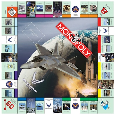 WASHINGTON -- Air Force Edition Monopoly will be available at base exchanges beginning Dec. 1.  Instead of traditional houses and hotels, the Air Force edition features air expeditionary squadrons and air expeditionary wings.  Players navigate the board with a B-2 Spirit, an air traffic control tower, the F/A-22 Raptor, a satellite, an unmanned aerial vehicle or a C-17 Globemaster III.  (Courtesy graphic)