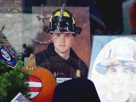 AL UDEID AIR BASE, Qatar - Staff Sgt. Andy Brunn was a New York City firefighter who died while trying to help others at the World Trade Center on Sept. 11, 2001.  Master Sgt. Joseph Rizzo, who served with Brunn in the New York Air National Guard, is currently deployed here.  Rizzo said losing Brunn was like losing a brother.  (Courtesy photo)