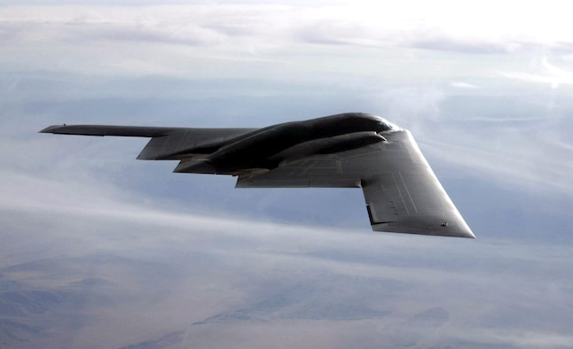 FILE PHOTO -- The B-2 Spirit is a multi-role bomber capable of delivering both conventional and nuclear munitions. A dramatic leap forward in technology, the bomber represents a major milestone in the U.S. bomber modernization program. The B-2 brings massive firepower to bear, in a short time, anywhere on the globe through previously impenetrable defenses.  (U.S. Air Force photo by Bobbie Garcia)