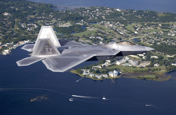 TYNDALL AIR FORCE BASE, Fla. -- The first operational F/A-22 Raptor cruises over Florida on its delivery flight to Tyndall, home of the world's first Raptor squadron.  (U.S. Air Force photo by Tech. Sgt. Mike Ammons)