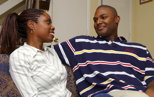 MCGUIRE AIR FORCE BASE, N.J. -- Natasha Wellington-Lucas and her husband, Staff Sgt. Anthony Lucas, spend some quality time together before she underwent a kidney transplant Sept. 23.  Lucas donated a kidney to his wife.  He is assigned to the 605th Aircraft Maintenance Squadron here.  (U.S. Air Force photo by Denise Gould)