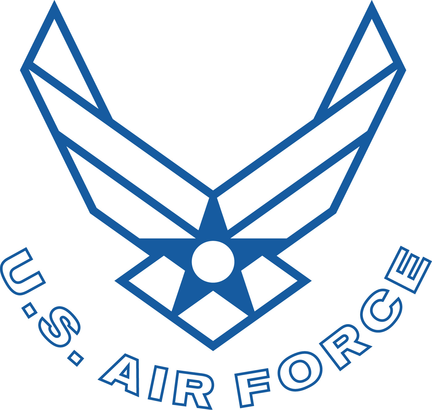 Art air force symbol curved text white with blue outline the air force symbol buycottarizona Images